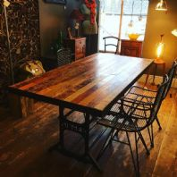 Dining Table with Singer Inspired Frame, Upcycled Maple Boards